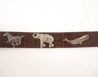Vintage Brown Leather Belt with Silver Animals Women Sz 28