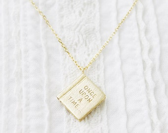 Book Pendant Necklace Initial Necklace Once Upon A Time Necklace Birthday Gift