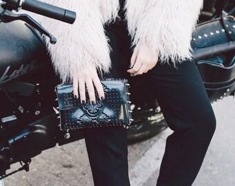 Bernina best handmade handbag / award winning clutch bag / black embossed vinyl clutch / silver spikes & pins / serious statement piece