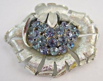 "Vintage Signed CORO Aqua Blue Rhinestone Flower Brooch Pin BIG 2 1/4"" Gorgeous!"