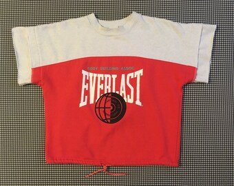 1980's, short sleeve, drawstring waist, Everlast sweatshirt, in hot pink and white, Women's size Medium