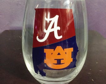House divided alabama auburn roll tidw wine glasses