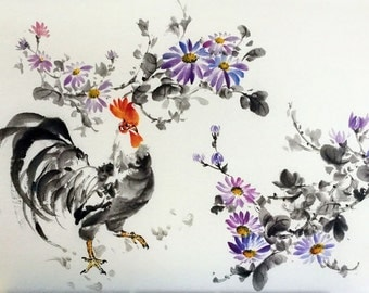 Japanese Ink Painting Japanese art Sumi-e Suibokuga Asian art Rice Paper Large 24x16 inch Rooster among Chrisanthemums
