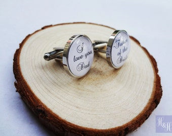 Stainless Steel Personalised Cufflinks - Father of the Bride/Father of the Groom/Groomsman/Groom - Any text or photo