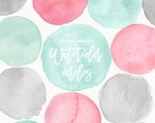 Watercolor Circles Dots Round Splashes Clip art Pink and Mint, Watercolor Brush Strokes, Blots, Splatters, Abstract Background, Branding