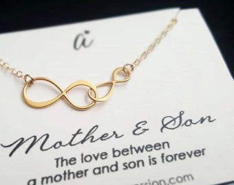 Mom Gift • Infinity Necklace • Mother and Son Necklace • Mommy Jewelry • New Mom & Son Gift • Infinite Love • Mother's Day • SILVER OR GOLD