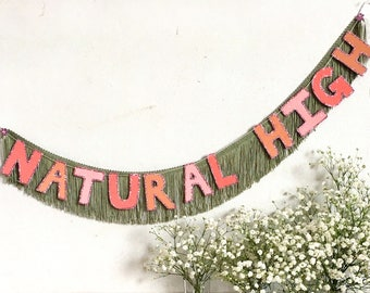 Natural High FUN CULT Fringe Banner | wall hanging banner, fringe wall hanging, party banner, dorm room decor, wedding banner, letter banner