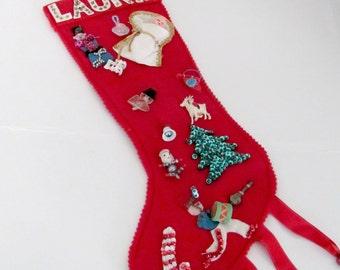 Vintage Christmas Stocking, 1960's Red Felt Stocking, Vintage Handmade, 1960's Christmas Decor, Decoration