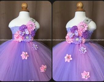 beautiful princess  tutu dress ,first birthday dress , flower girl dress in pink and lavender