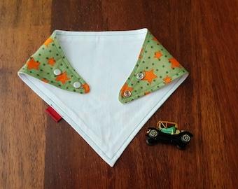 Green baby scarf - baby bandana bib - baby christmas present - baby shower gift - green and orange stars - bandana scarf bib - baby gift