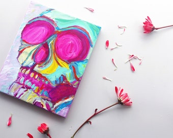 SALE Original acrylic art-- Semi-Abstract Painting of Skull on 8x10 canvas with acrylics and brush, bright pink painting, sugar skull,