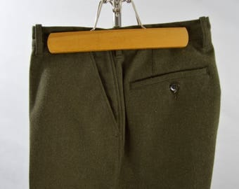Vintage 1950s/1960s Olive Green Heavy Wool Pants by Filson Size 36 x 28.5