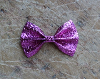 pink metallic druzy printed leather bow hair clip
