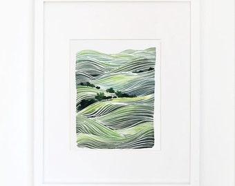Green Rolling Hills - Watercolor Art Print