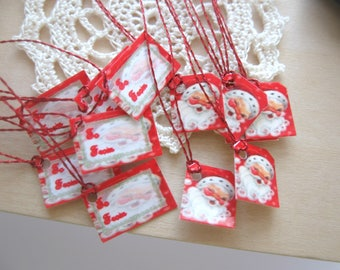 dollhouse christmas santa gift parcel present  tags x 12 miniature 12th scale