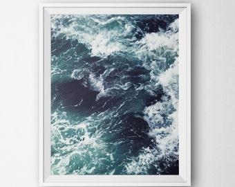 Printable Beach Art, Ocean Sea Waves Print, Minimalist Modern Wall, Home Decor Digital Printable Ocean Landscape Blue Photography Minimalist