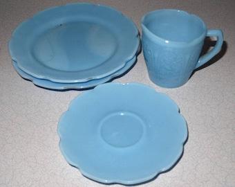 Blue Delphite Childs Set Jeannette Glass Odds and Ends
