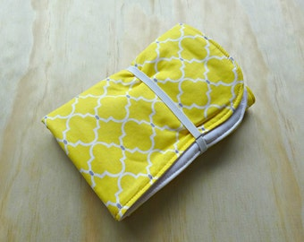Yellow and white quatrefoil pattern wipeable baby change mat cover. change mat cover. nappy wallet change mat