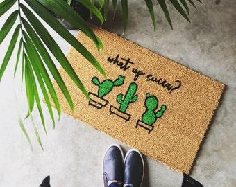 What Up Succa? - Hand-painted Coir Doormat by After Infinity
