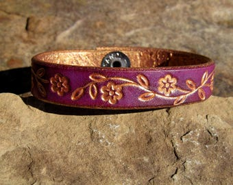 Personalized Leather Bracelet - Custom Cuff - Womens Bangle Gift for Her - Purple with Goldwash Floral Vine - 3rd Anniversary Gift Birthday