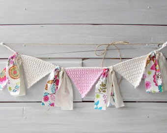 Baby Girl Nursery Decoration High Chair Banner Pink and Cream Bunting Crocheted Banner Photo Prop Banner