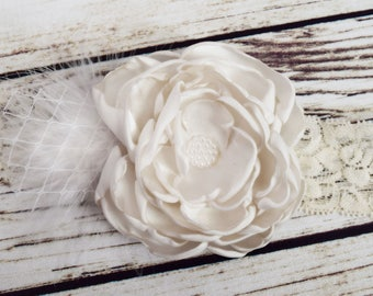 Handcrafted Off White Vintage Style Feather Headband - Over the Top Bows - Baptism Headband - Off White Flower Girl Headpiece - Roaring 20s