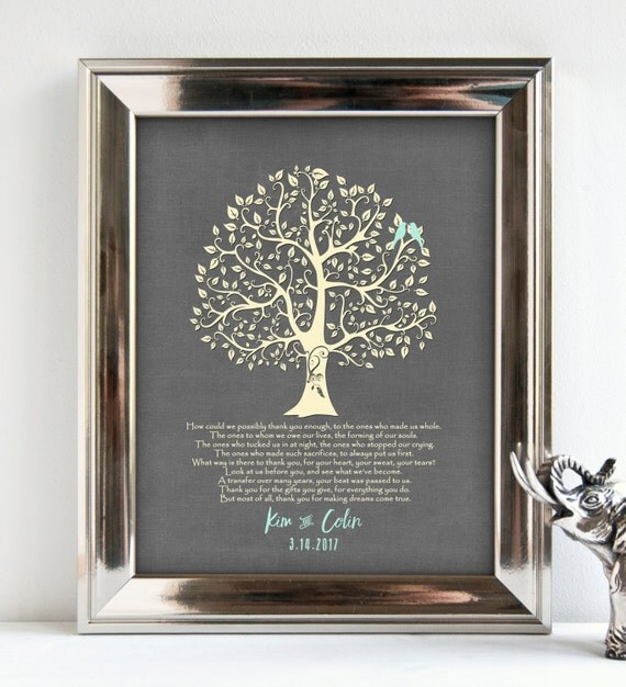 Engraved Wedding Gifts For Parents : Parents wedding Gift, Personalized Parents Poem, Thank You Parents ...