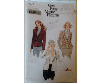 "Vintage 70's Vogue #7276 Very Easy Wrap Front Belted Semi-fitted Jacket Coat Sewing Pattern Bust 34"" UK 12"