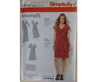 UNCUT Simplicity #1653 Amazing Fit Mock wrap front side tie Dress Sewing Pattern Size Bust 32.5 34 36 38 40 UK 10 12 14 16