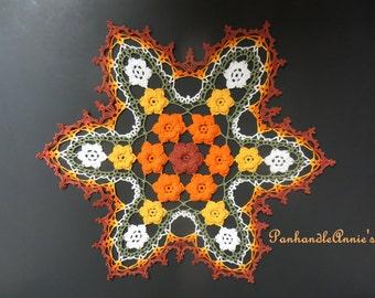 Handmade Fall Rose Floral Crochet Doily