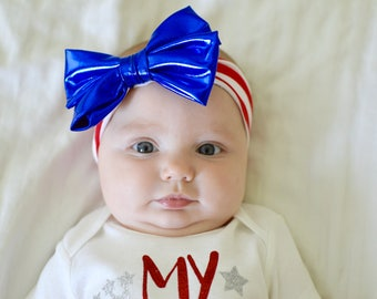 ON SALE 4th Of July Headband, baby girls headband, red white and blue headband, baby girl hair accessories, blue bow, red striped headband