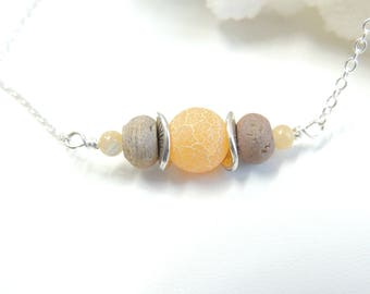 Orange Beige Druzy Agate Aromatherapy Oil Necklace, Essential Oil Diffuser Necklace, Quartz Agate Stone Necklace, Aromatherapy Jewelry