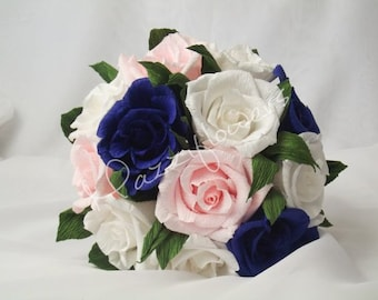 Bridesmaid bouquet ,paper flower, bridal bouquet, wedding paper flower bouquet, bridal flower,paper flower,bouquet paper flower,rose blue,