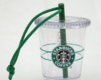 Starbucks Christmas Ornament Iced Drink Clear Cup with Green Straw Hangs
