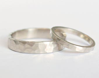 Hammered White Gold Wedding Ring Set // 14k White Gold Matching Wedding Rings // Eco Friendly Recycled Gold // Matching Wedding Bands Set
