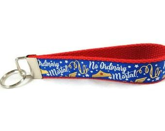 Wonder Woman key fob, DC Comic key chain, wristlet keychain, Fabric Wristlet, Key Ring, Stocking Stuffer, Teacher Appreciation Gift,