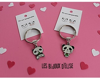Set of 2 Couple Panda Keychains His and Hers Couple KeychainsBoy and Girl Best Friends Keychains Valentine's Keychains  (Style 4)