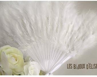 Sale - Old White Feather Fan Bridal Wedding Accesory Costume Fan Gothic Fan Vintage Look (FAN001)