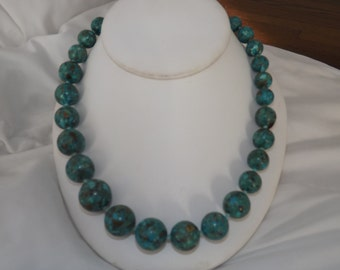 Vintage Sterling Silver Turquoise Graduated Bead Necklace-On Sale Now!