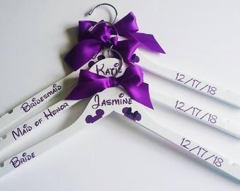Four Personalized Disney Bridal Hanger Custom Wedding Hanger Bridal Party Gift Bride Gift Bridesmaid Gift