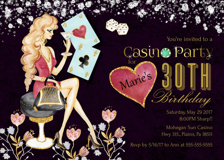 Casino night party invitations Printable Bachelorette Invitation – Casino Birthday Party Invitations
