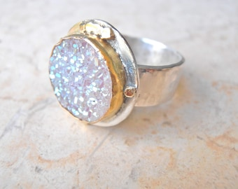 White Druze, 14K Gold Silver ring. Bold beautiful statement ring. Custom made