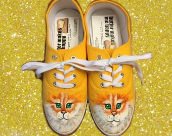 Cat Shoes. Hand painted cat face shoes. Meow! kitten shoes
