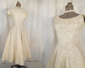 Vintage 1950s Dress / 50s Wedding Dress Chartreuse and White Lace Prom Formal