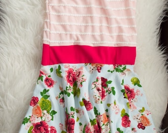 6-7 years pink ruffle stripe and floral twirl skirt dress. Ready to ship. Little Lapsi