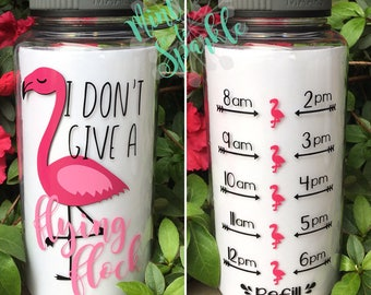 I dont give a flying flock motivational water bottle with hourly time tracker