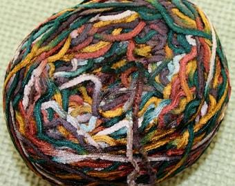 Weaving Yarn, Variegated, Rayon, Chenille, Green, Gold, Rust, Gray