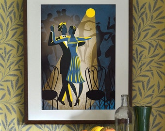 Original Design Blue Balboa A3 A2 A1 Art Deco Bauhaus Poster Print, Vintage Dance Tango