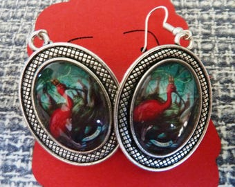 "Glass cabochon Earrings  ""Ibis"""