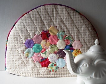 Handmade Tea Cozy Quilted Cotton English Paper Pieced Hexagons